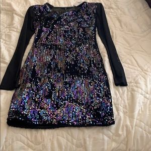 Long sleeve colorful sequin dress